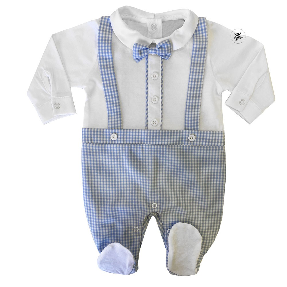 Customizable Summer romper suit with bowtie