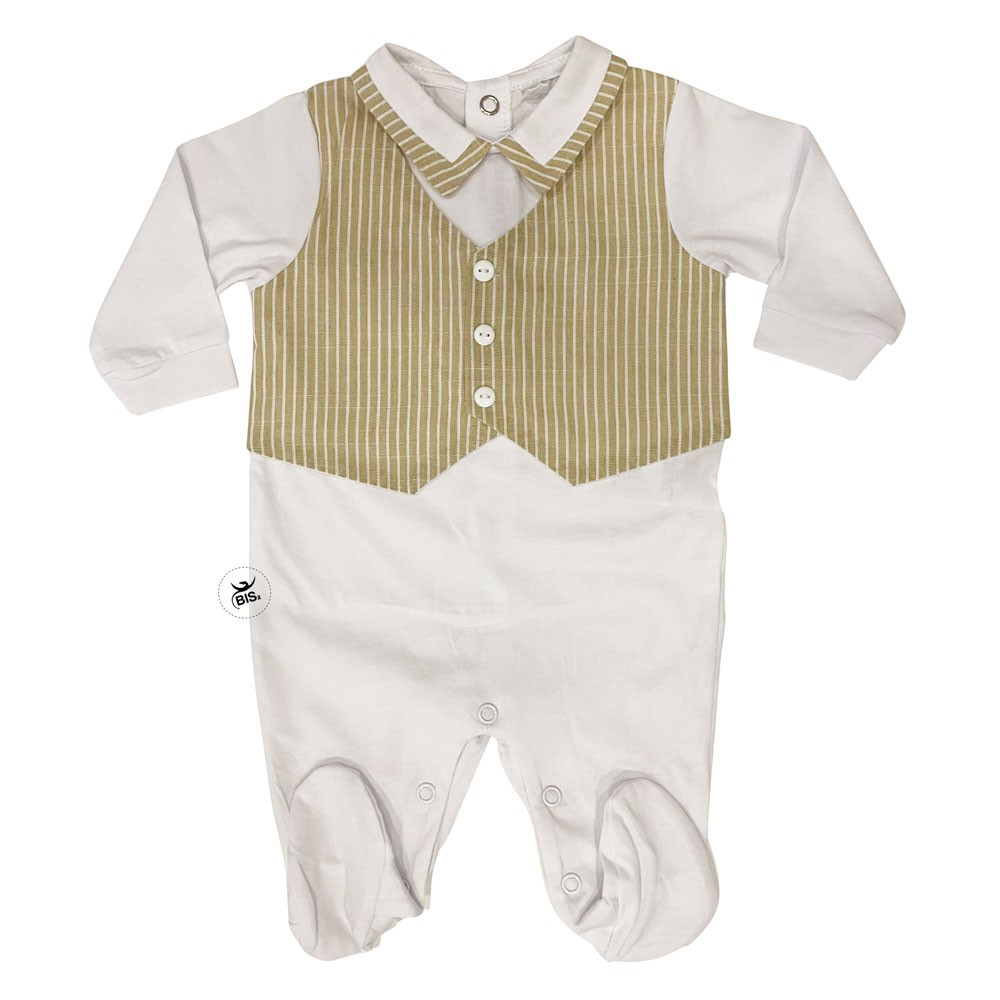 Newborn Romper suit with striped waistcoat