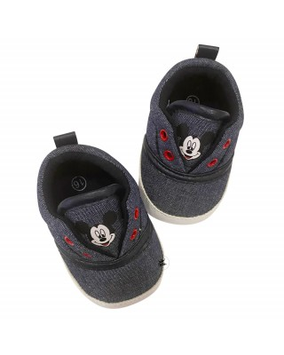 """Denim effect baby crib shoes """"Mickey Mouse"""""""