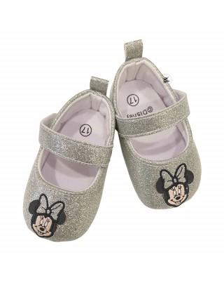 """Ballerine neonata """"Minnie"""" argento glitter"""