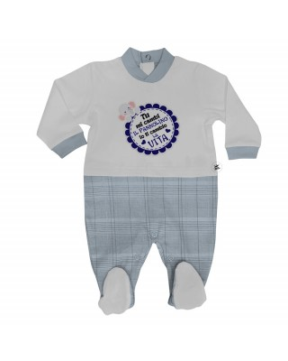 """Summer romper suit in gingham """"You change my diaper..."""""""