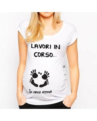 """T-shirt premaman manica corta """"Lavori in corso...in dolce attesa"""""""