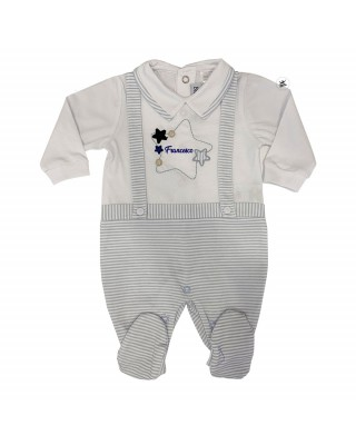 Summer romper suit with an embroidered star , customizable