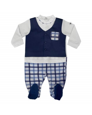 Summer romper suit with gilet and checked trousers