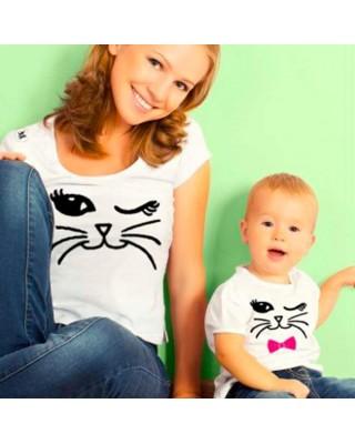 Magliette coordinate mamma disegno gatto