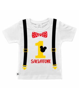 """Baby birthday t-shirt  """"suspenders, Mouse and bow tie"""" print"""