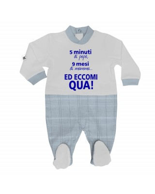 "Summer romper suit in gingham ""5 minutes of dad, 9 months of mom and here I am"""