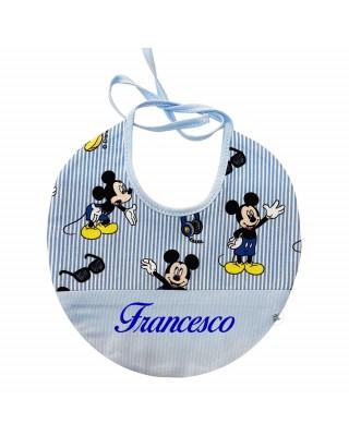 """Bavaglino Disney con nome """"Topolino"""" a righe"""