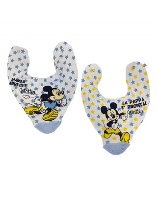 """Bib with built-in gum massager 2-Piece Set Mickey Mouse """"Food is ready"""""""