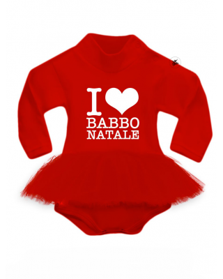 "BODY con gonna in tulle rossa ""I LOVE BABBO NATALE"""