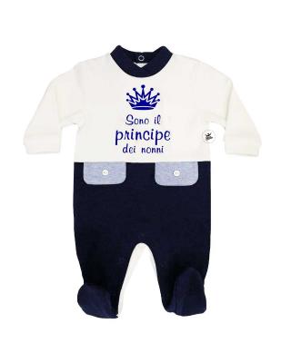 """Tutina neonato bi-colore invernale """"Sono il principe dei nonni"""""""