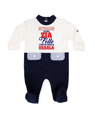 """Tutina neonato bi-colore invernale PERSONALIZZABILE """"Ho una Zia (Zio-Mamma-papà ecc) folle"""""""
