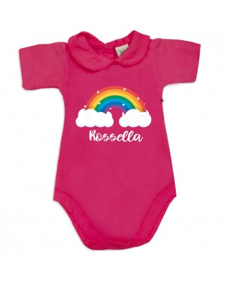 """Body neonata colletto con finitura in pizzo  """"arcobaleno"""" da personalizzare"""
