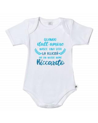 """Body neonato/a """"La felicità ha un nuovo nome"""" da personalizzare"""