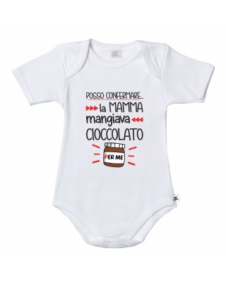"""Body per bambini """"posso confermare, la mamma mangiava cioccolato per me!"""""""