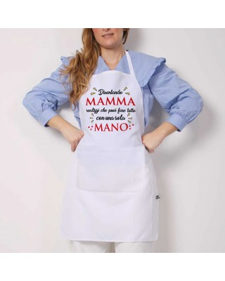 Grembiule da cucina con stampa diventando mamma capisci che puoi fare tutto con una sola mano