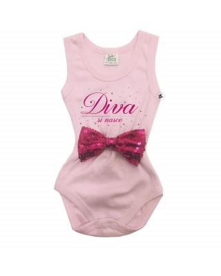 Body neonata DIVA si NASCE con applicazione fiocco PAILLETTE