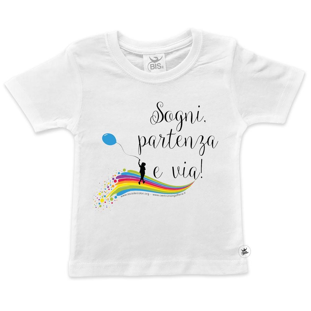 """T-shirt bimbo/a """"Sogni partenza e via"""""""