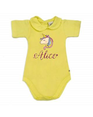 """Body neonata colletto con finitura in pizzo  personalizzabile """"unicorno e nome"""""""