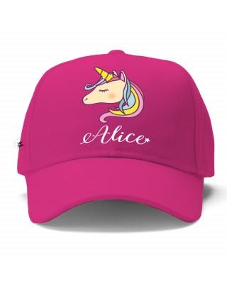 """Cappellino con visiera """"Unicorno"""" fuxia"""