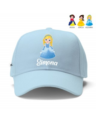 "Cappellino con visiera ""Principesse"" azzurra"