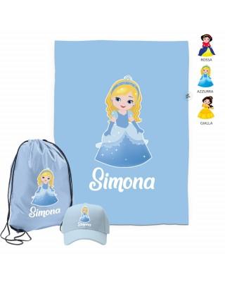 """Kit telo mare, cappellino e sacca """"Principesse"""" azzurra"""