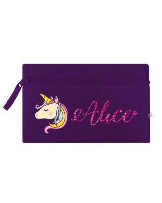 Astuccio porta penne con Unicorno viola