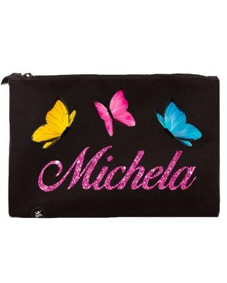 """Pochette tela Personalizzabile """"farfalle e nome"""" nero"""