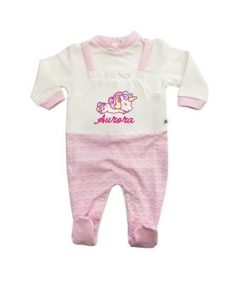 """Tutina neonata invernale salopette cuori """"Baby unicorn"""" con nome"""