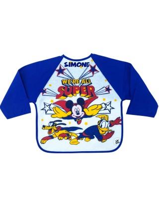 """Bavaglino con maniche """"Super Mickey"""" blu"""