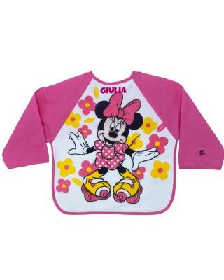 """Bavaglino con maniche """"Minnie flowers"""" fuxia"""