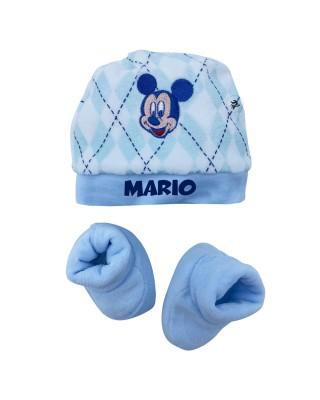 """Kit cappellino e babbucce neonato """"Topolino"""" azzurro"""