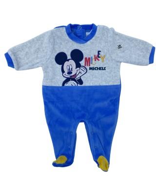 """Tutina neonato ciniglia """"Mickey mouse"""" grigia"""