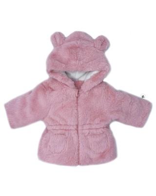 pelliccia neonata rosa con orecchie