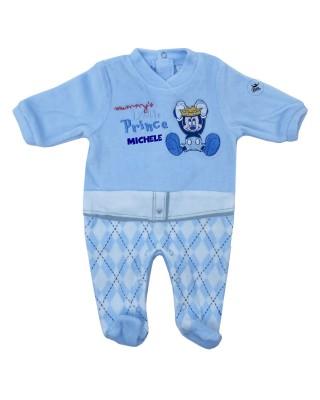 """Tutina neonato ciniglia """"Mickey Little Prince"""" azzurro"""