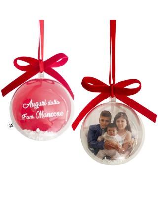 Palla natalizia 3d personalizzabile con foto e dedica