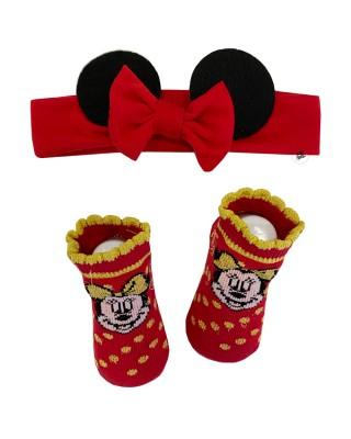 "Set natalizio disney calzini e fascia ""Minnie"""