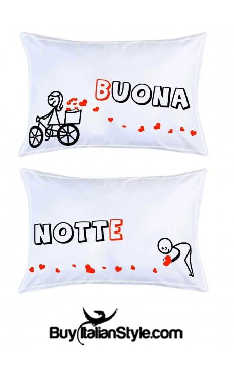 Federe con stampe romantiche bassetti buona notte - Immagini innamorati a letto ...