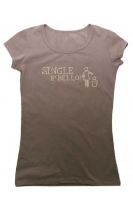 """T-shirt donna con BORCHIE """"Single è bello"""""""