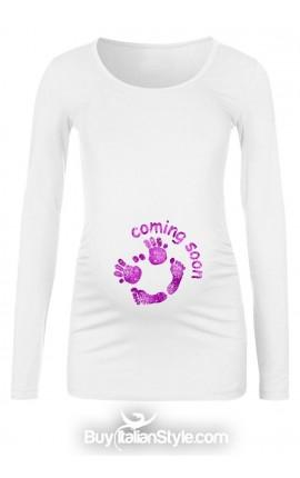 "T-shirt premaman ""Coming soon"" glitterata"