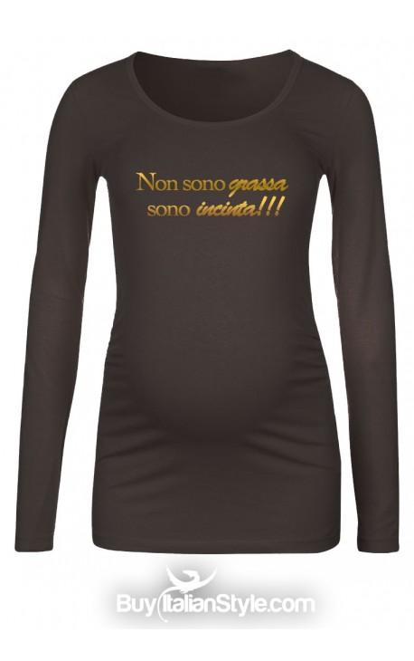 """T-shirt premaman """"Non sono grassa sono incinta"""""""