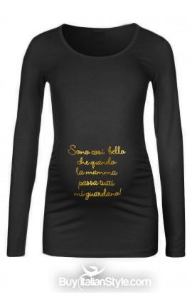 """T-shirt premaman """"Sono così bello/a che quando la mamma passa tutti mi guardano"""""""