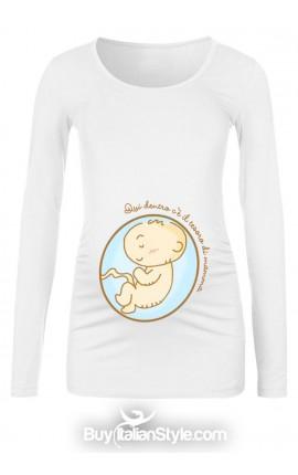 """T-shirt premaman """"Qui dentro c'è il tesoro di mamma"""""""