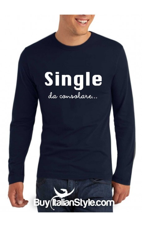 "T-shirt M-lunga uomo ""Single da consolare"""