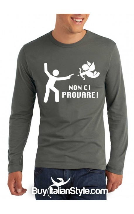 "T-shirt M-lunga uomo ""Non ci provare!"""