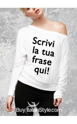 t-shirt donna manica lunga a spalla scoperta