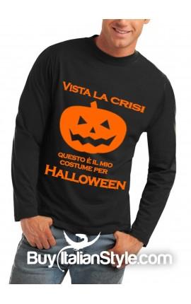 """T-shirt M-lunga uomo """"Vista la crisi...questo è il mio costume per Halloween!"""""""