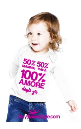 """Maglia bimbo/a """"50% mamma 50% papà 100% amore degli zii"""""""