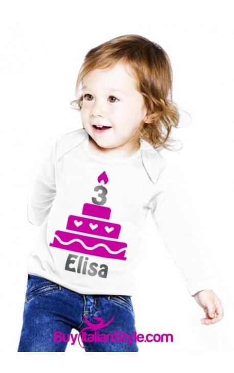 """Maglia bimbo/a ML """"CAKE"""" da personalizzare per festa di compleanno"""