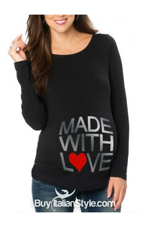 "T-shirt premaman ""MADE WITH LOVE"""